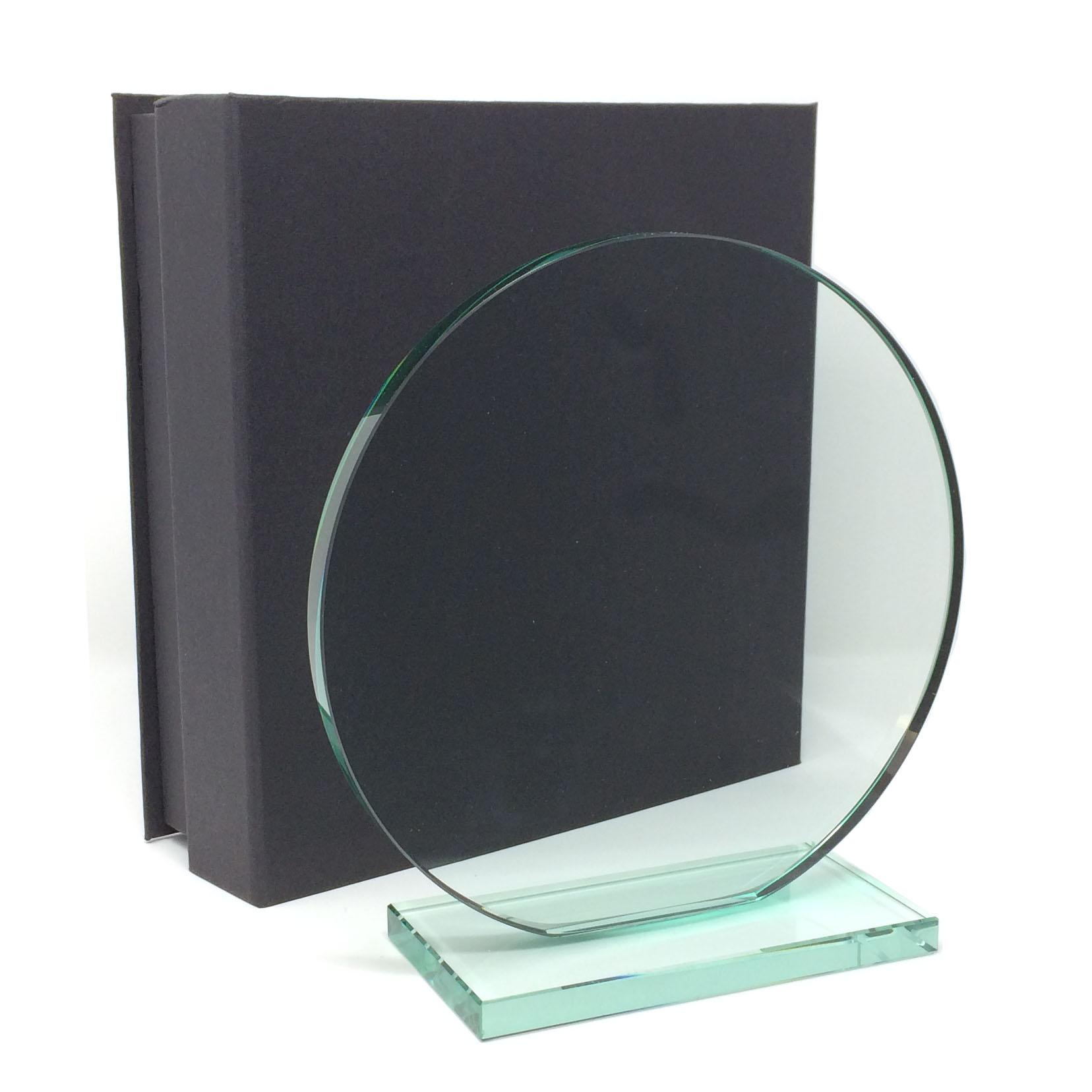 troph e rond promotionnel en verre jade. Black Bedroom Furniture Sets. Home Design Ideas