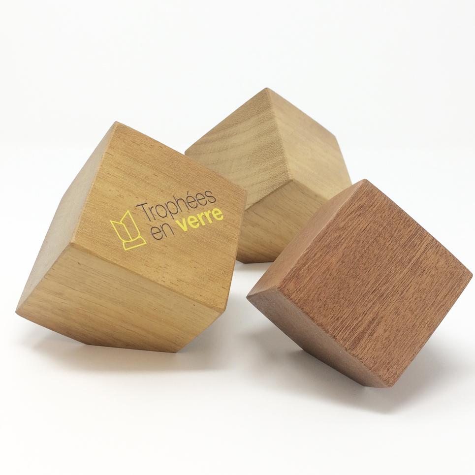 Trophée en bois cube pan coupé