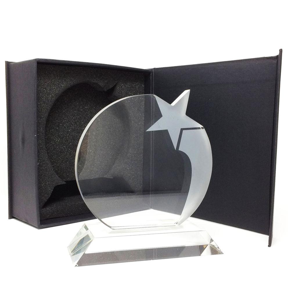 Trophée rond avec étoile en verre