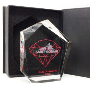 Trophée en forme originale avec gravue 3D et impression couleur numérique