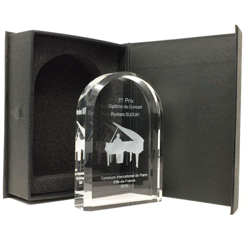 Trophée plaque en verre arrondie avec des bords biseautés
