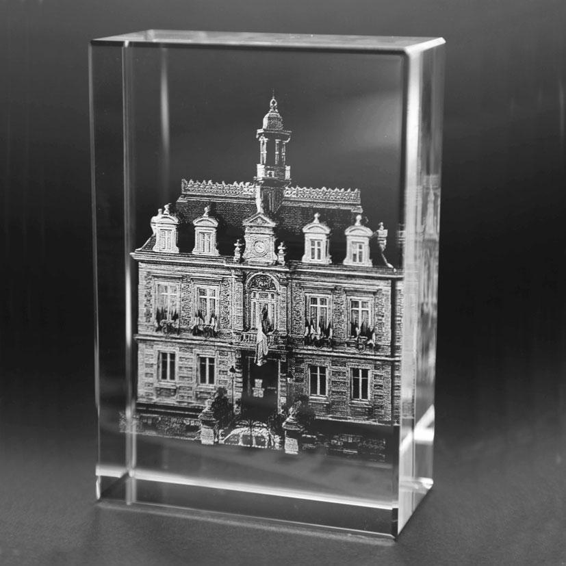 Trophée en verre tombstone gravure en 3D