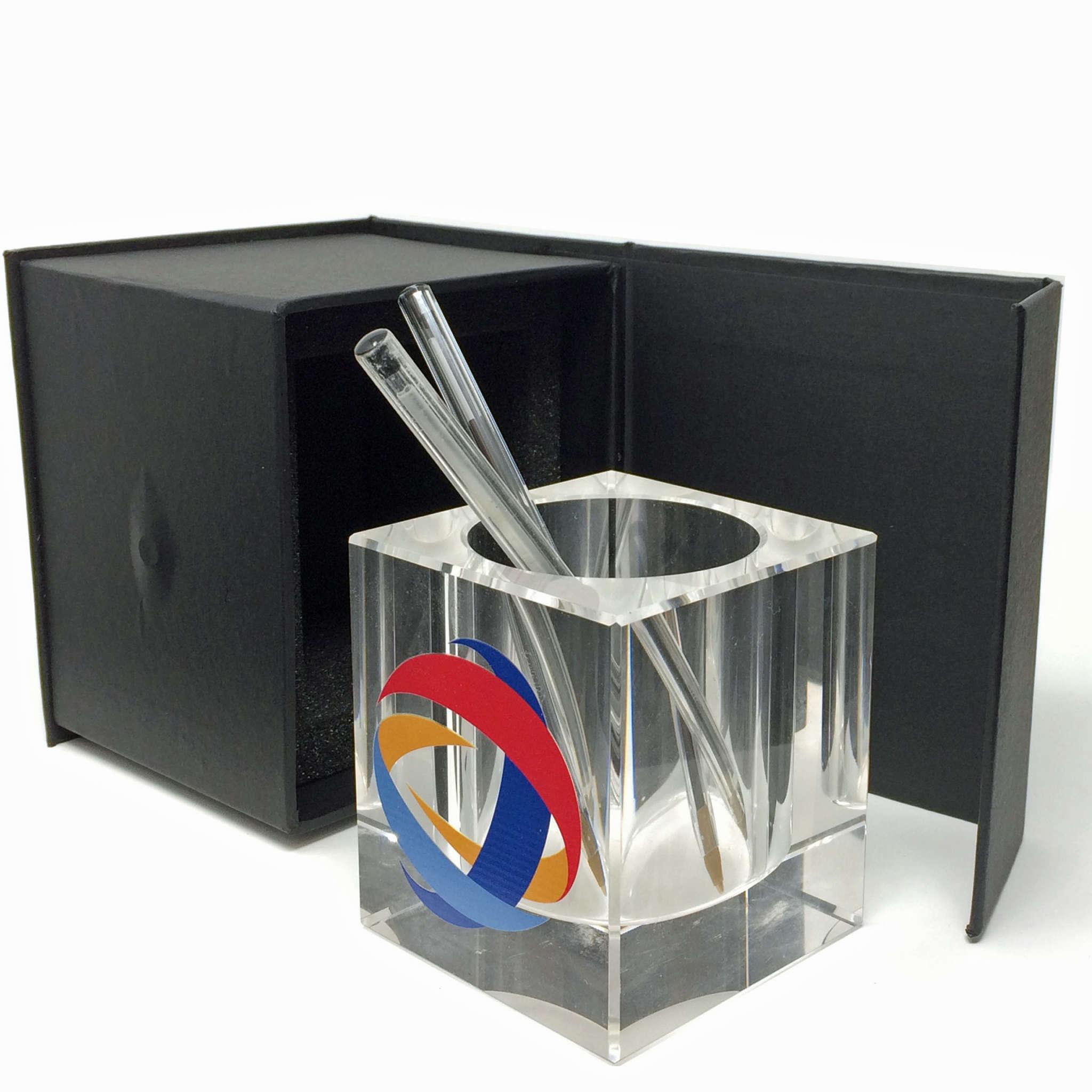 pot à crayon en verre personnalisable avec votre logo