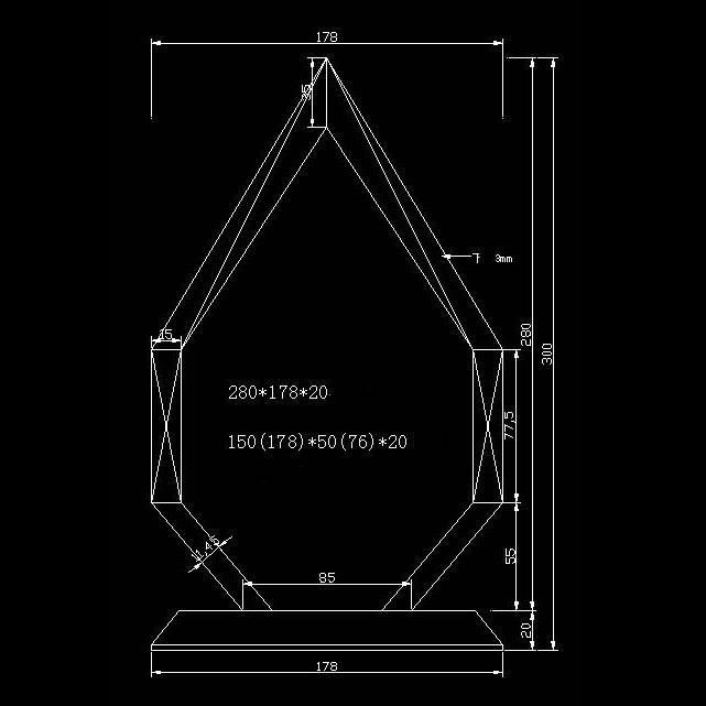 design d'un trophée en verre