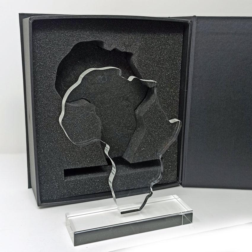 Trophée Afrique en verre gravé avec logo
